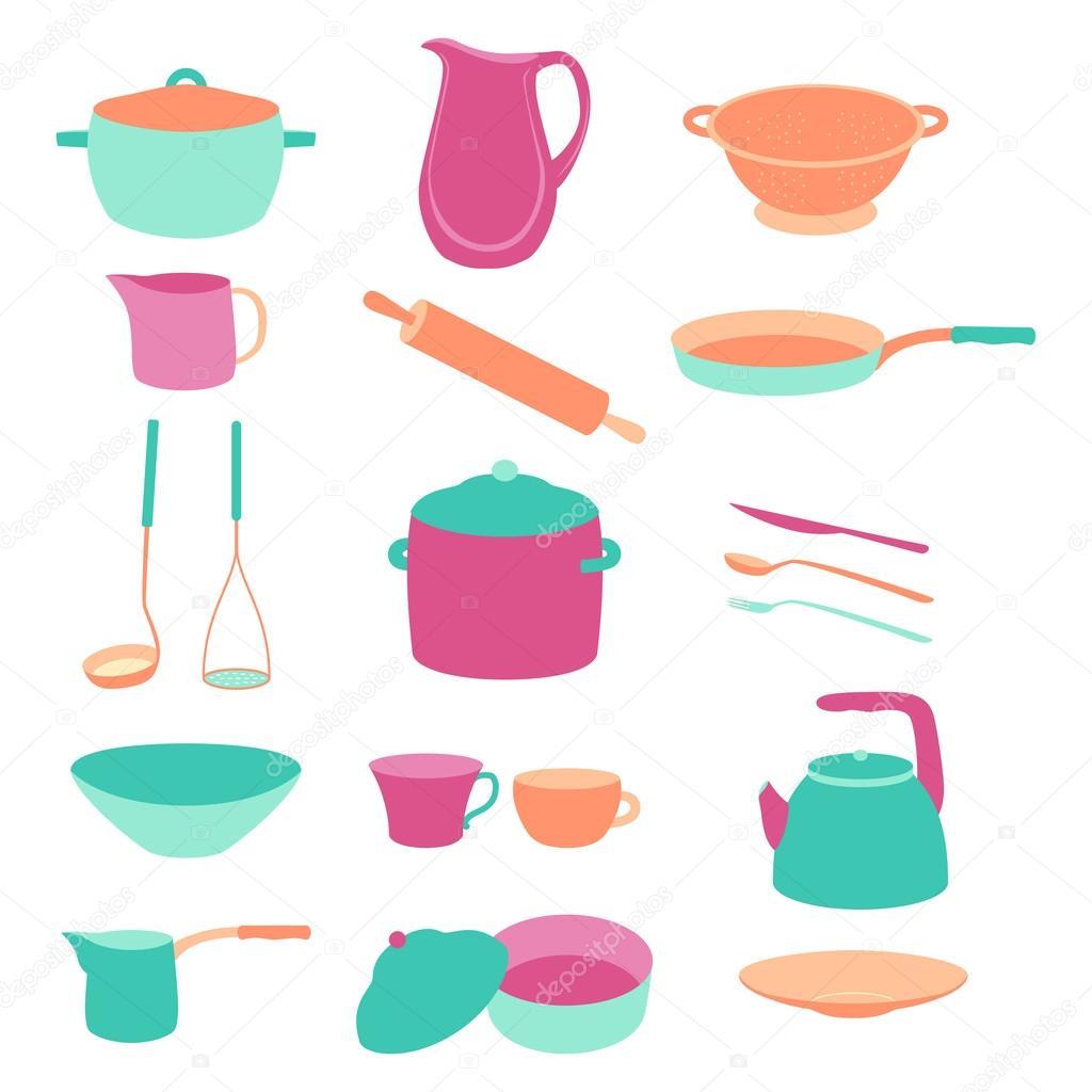 Carino colorato set utensili da cucina. Design piatto — Vettoriali ...