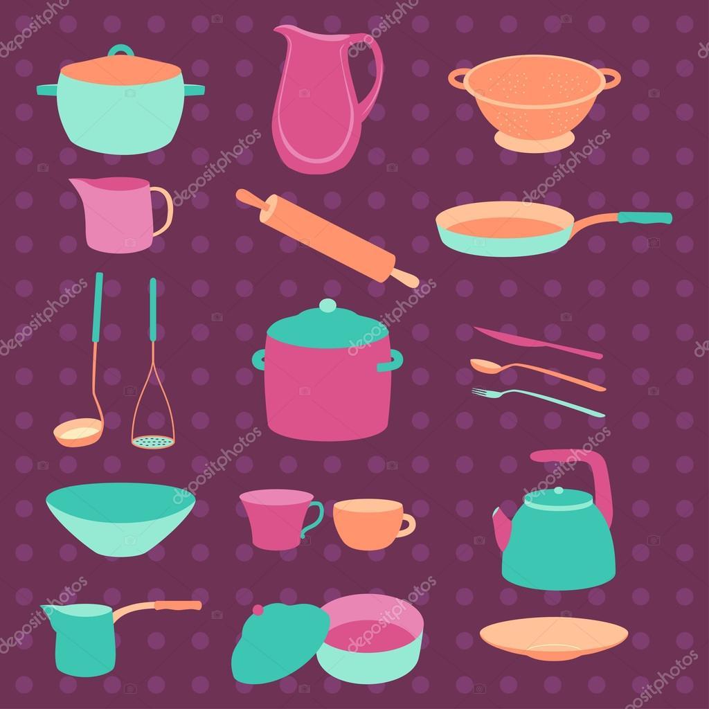 Bunte Küche Geschirr Set. Bunte Geschirr. Flaches Design. Vorlagen ...
