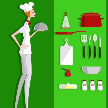 Cook and kitchen objects