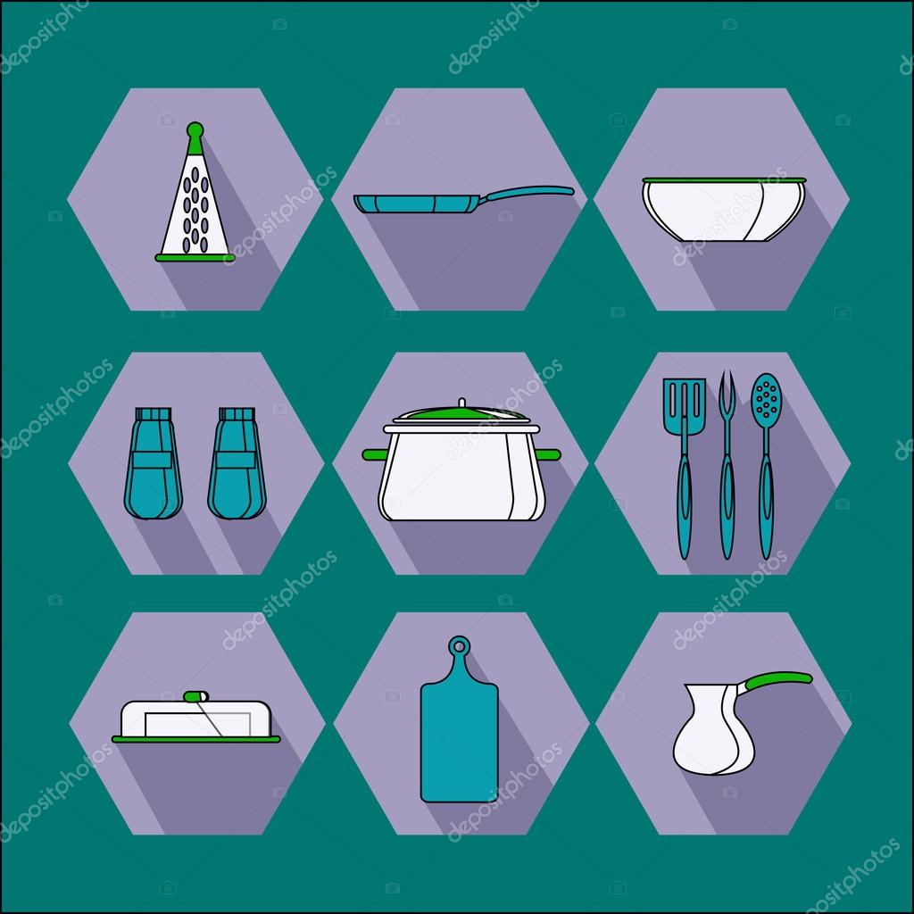 Kitchen objects and accessories icons — Stock Vector © StasiiaPanch ...