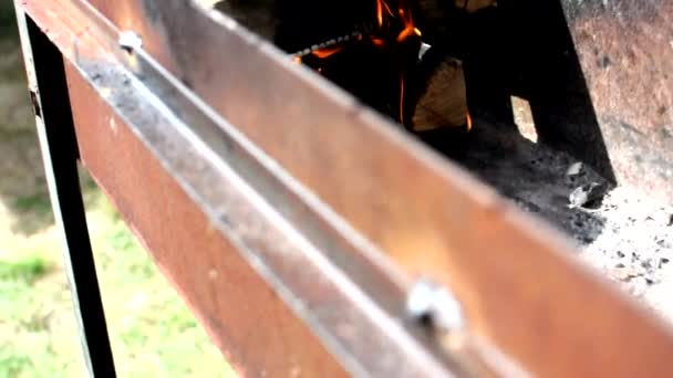 Oheň v grilu. Opravdový krb, plný dřeva a ohně. Krásný pohyb jasného plamene ohně nad dřevěnými kládami. Charcoal on a bright fire in nature.selective focus