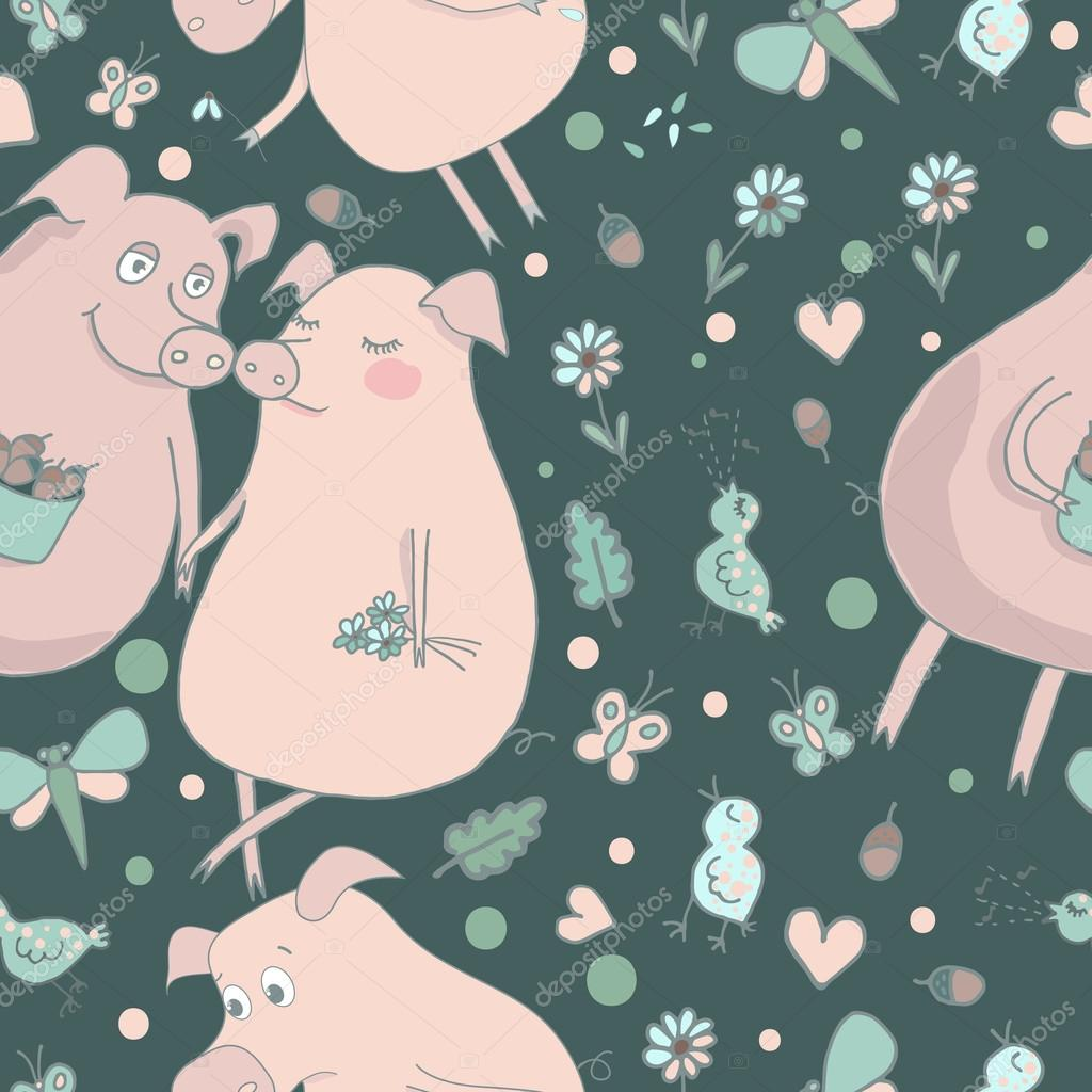 Cute pattern with lovers pigs