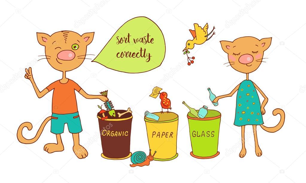 Dibujos Del Cuidado Del Medio Ambiente Gatos Lindos Y Las Aves Se