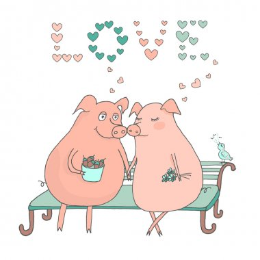 Couple of cute pigs sitting on a bench, the bird sings their song