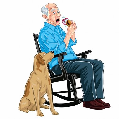 Old Man Eating Burger