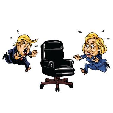 Republican Donald Trump versus Democrat Hillary Clinton Running For Presidential Chair