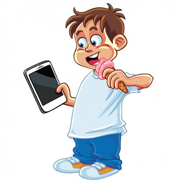 Kid Playing Tablet Phone