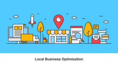 Concept of local business optimization, optimizing local listing for marketing, vector illustration isolated on blue background
