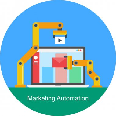 Flat design concept of automated marketing solution - Software control panel designed for automated marketing tasks