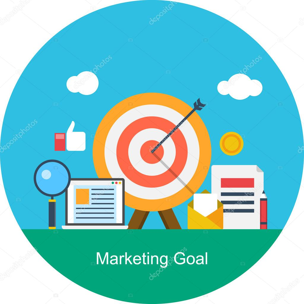 Pricing Strategy Icon: Flat Design Concept Of Marketing Goal Including Social