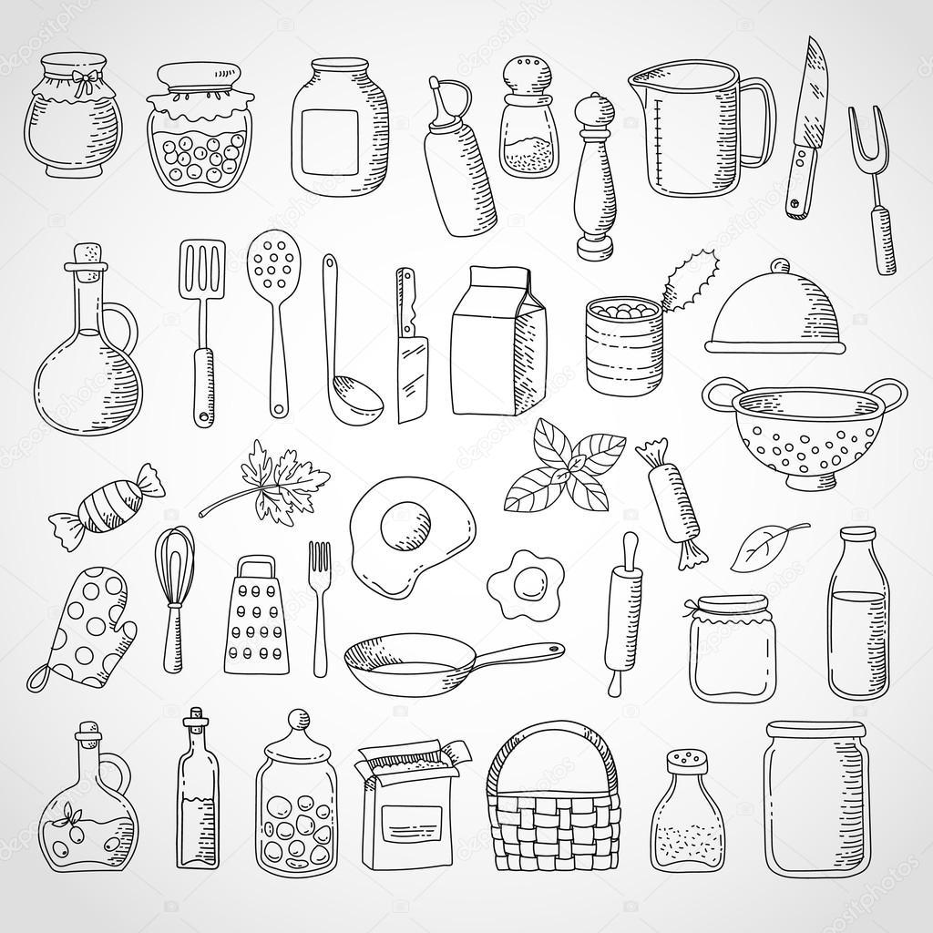 Doodle Set Food And Kitchen Utensils Stock Vector C C4y4ka Yandex Ru 114343102