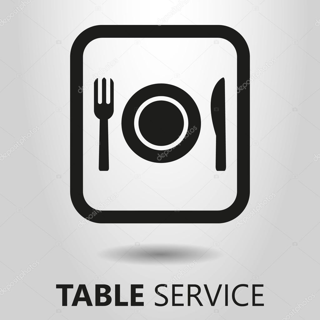 Servizio Al Tavolo.Servizio Al Tavolo Icona Bianco E Nero Vettoriali Stock