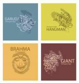 Photo set logos characters of Ramayana vector