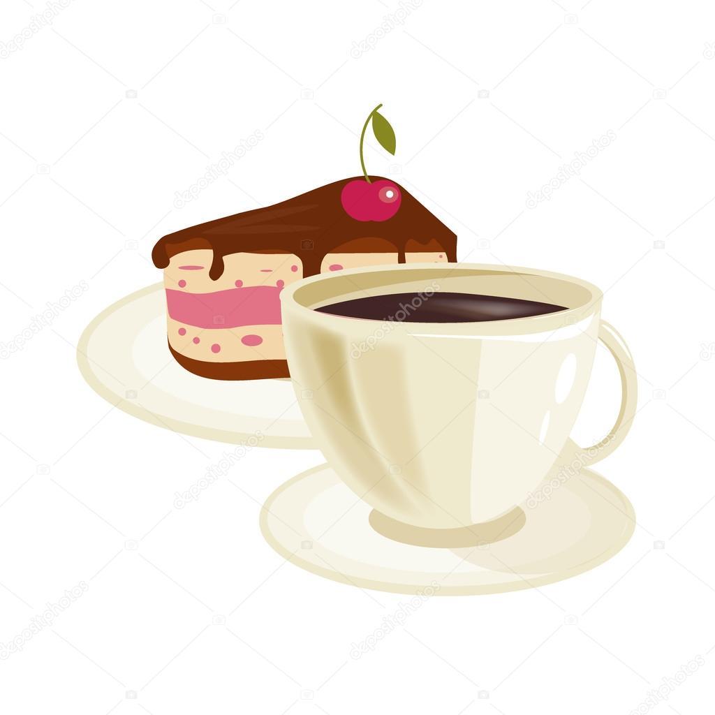 Cream Kersen taart en koffie kopje vector — Stockvector ...