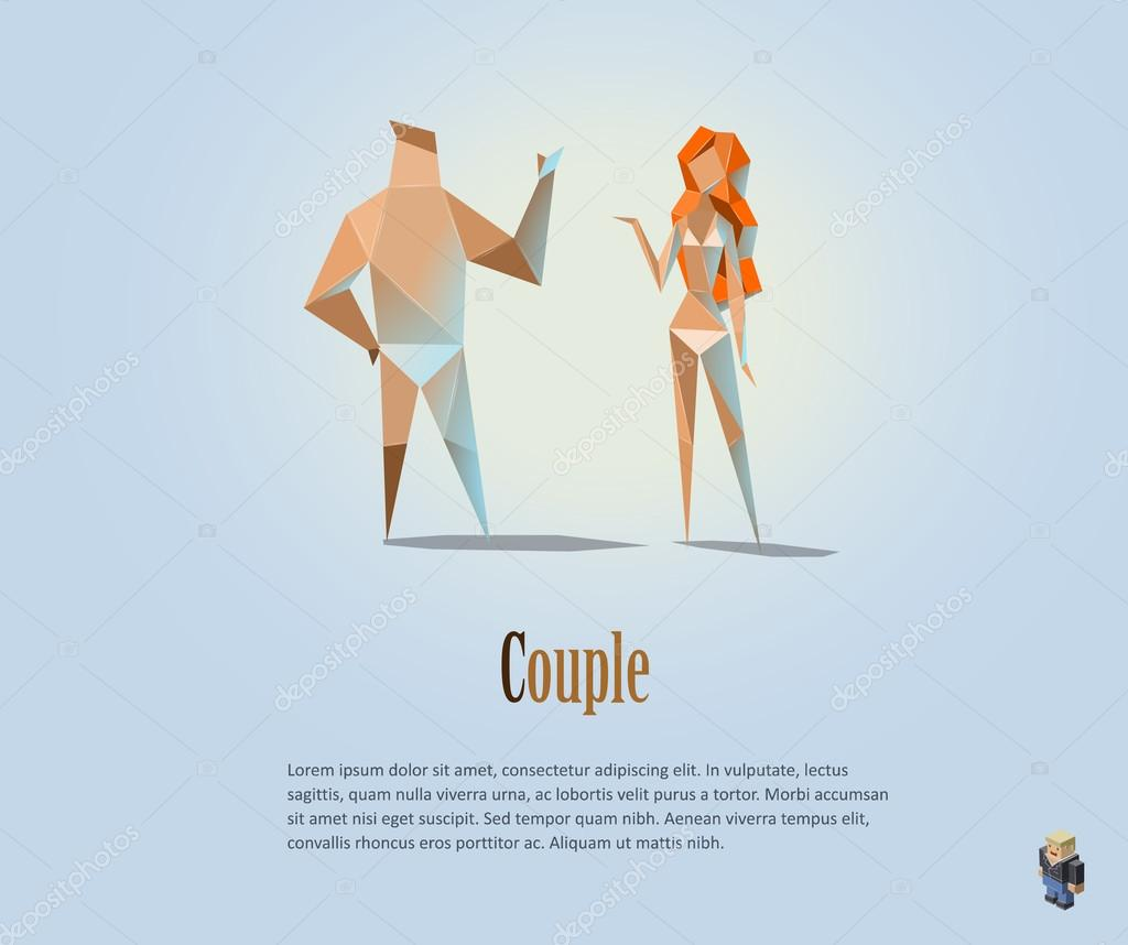 Vector Polygonal Illustration Of Couple Naked People Modern Low Poly Object Man And Woman Girl Boy Origami Style Human By Lemonoffmailru