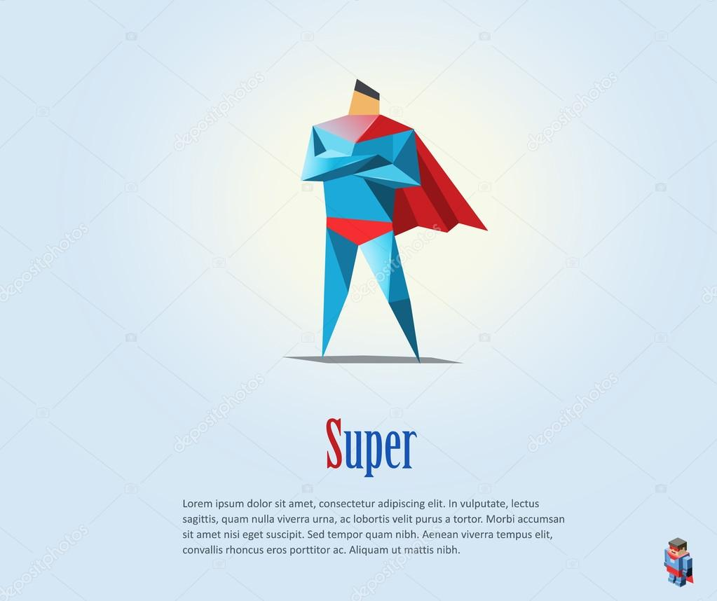 Vector Polygonal Illustration Of Super Hero Origami Style Icon Modern Cartoon Man Character By Lemonoffmailru