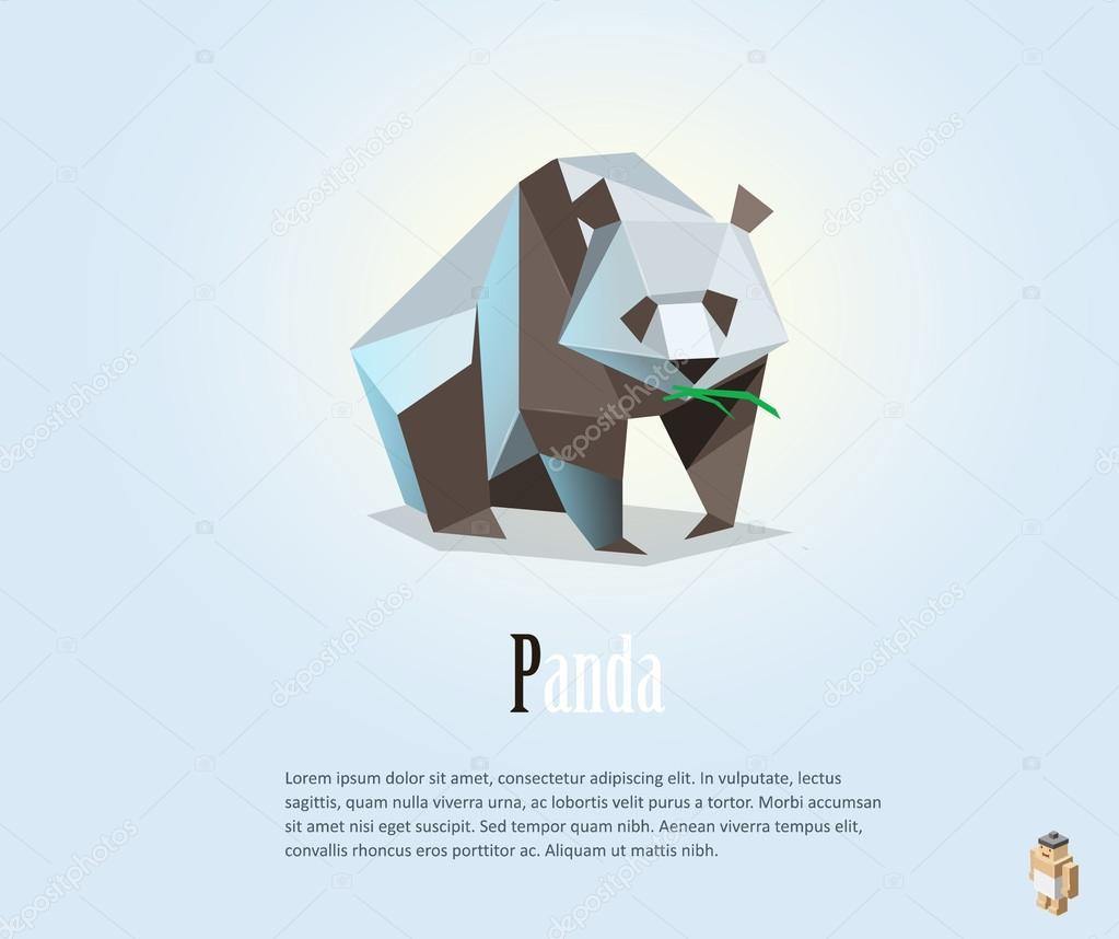 Vector polygonal illustration of panda, low poly style object, wild animal icon