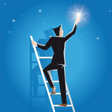 Businessman achieves success on the staircase to the stars