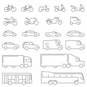 Flat Line icons - Transportation Vehicles Icons. Complete set of icons flat line on a white background with all means of road transport.