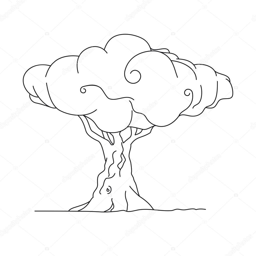Kitap Sayfa Boyama Için Ağaç Stok Vektör Tommaso78urbinati