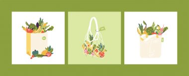 Vector illustration set of eco shopping bags with products. Concept for zero waste, plastic free. Bags full of food from local market or grocery.