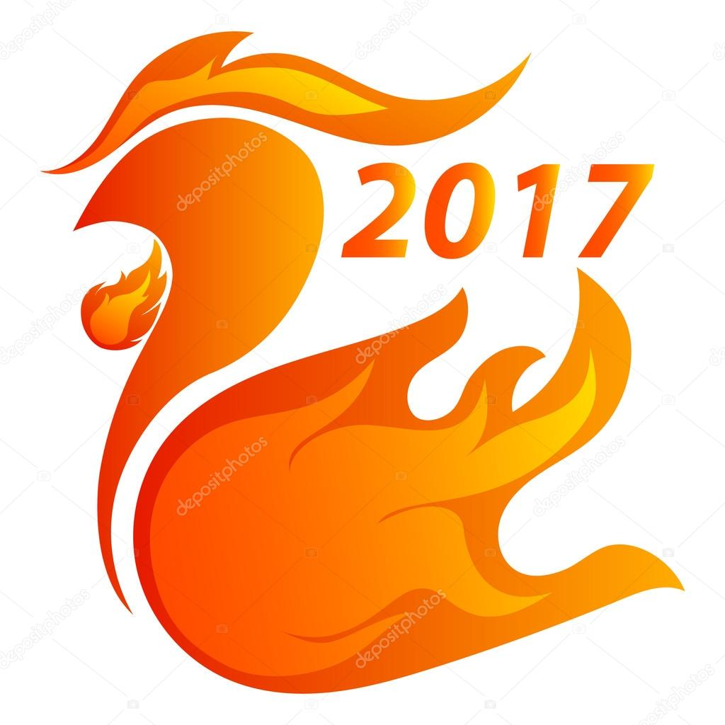 The Fire Rooster Is The Symbol Of 2017 Stock Vector