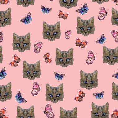 unusual cat portrait and butterflies, pattern