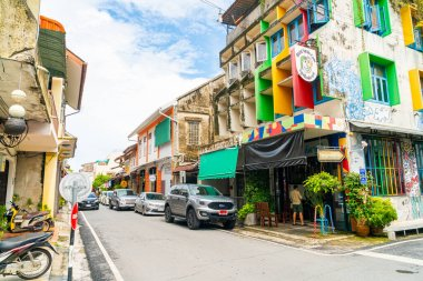 SONGKHLA, THAILAND - 2020 Nov 15 : Colorful and beautiful building old town and landscape in Songkhla, Thailand on 15 November 2020.