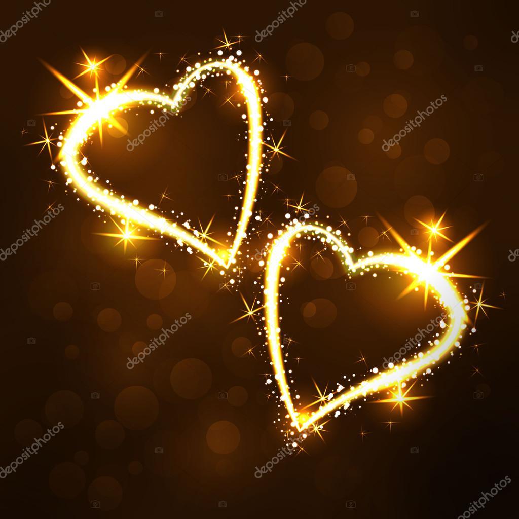 Sparkling 2 hearts on dark background