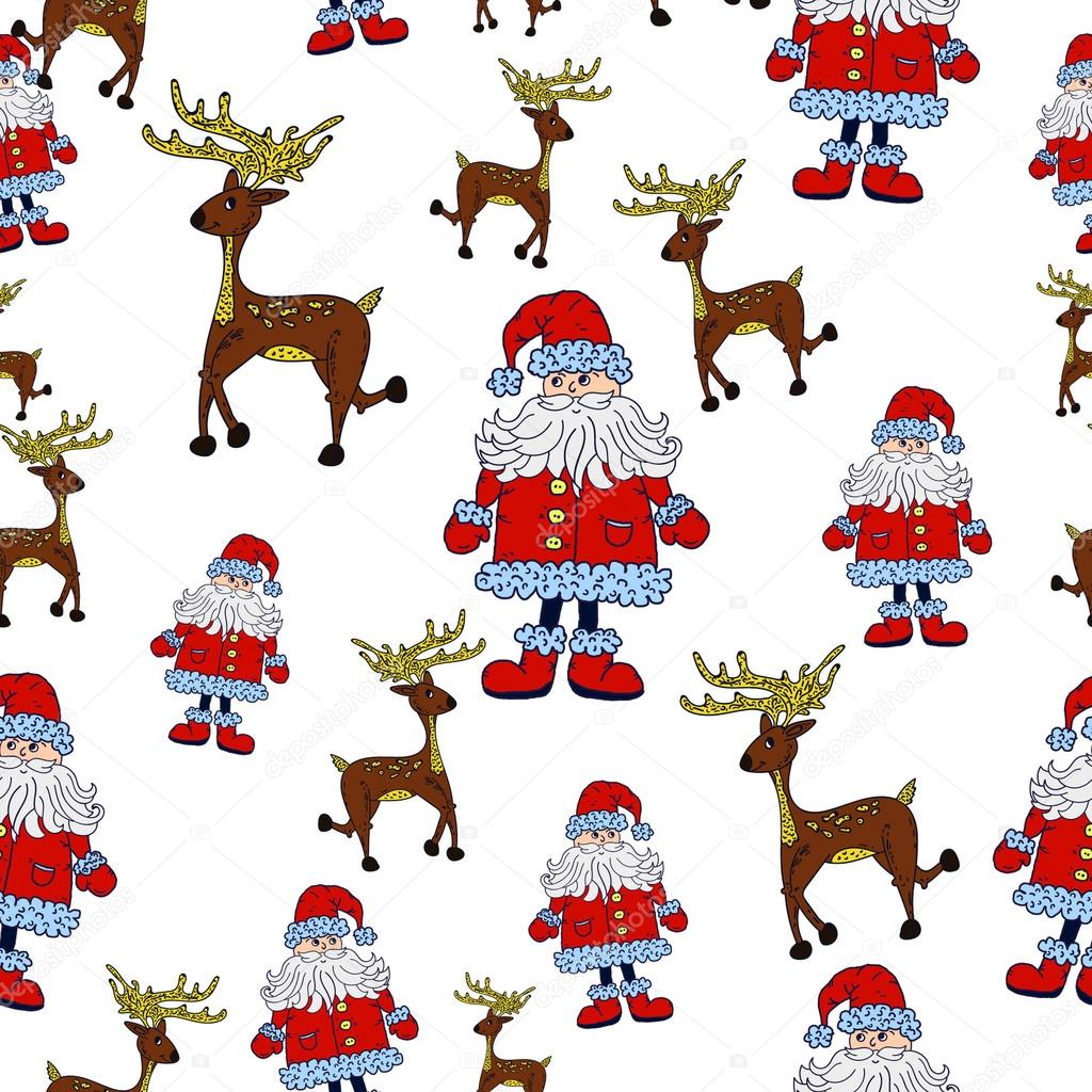 Sin fisuras patrón de Navidad con Santa, renos y estrellas — Archivo ...