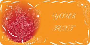 The Firebird. The invitation to the feast.Vector ornament on orange-red background.