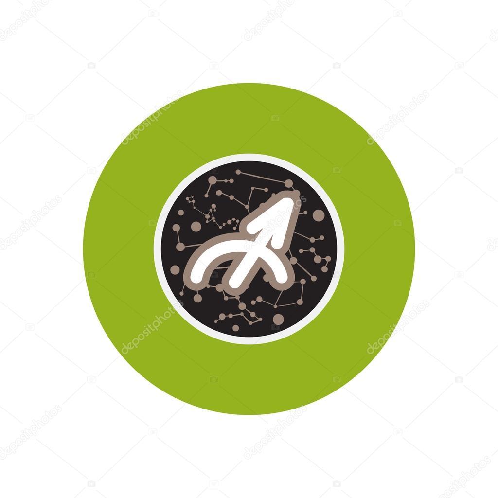 Stylish Icon In Color Circle Zodiac Sign Sagittarius Stock Vector