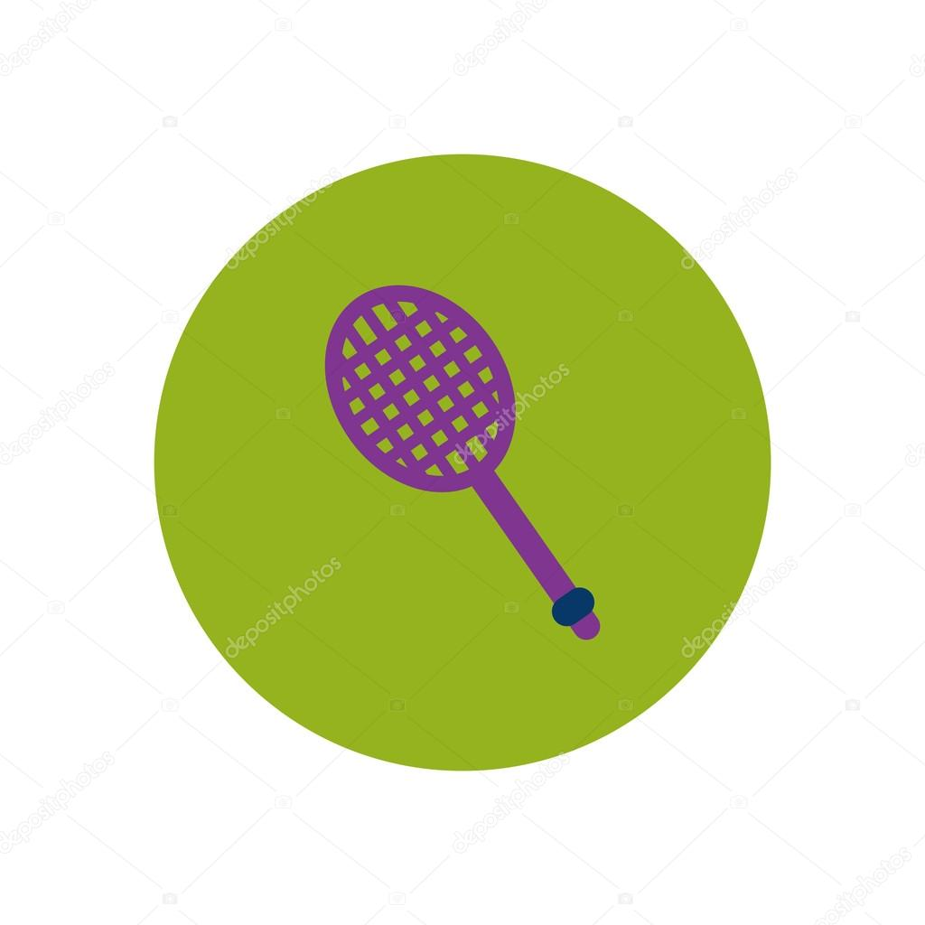 stylish icon in color circle tennis racquet