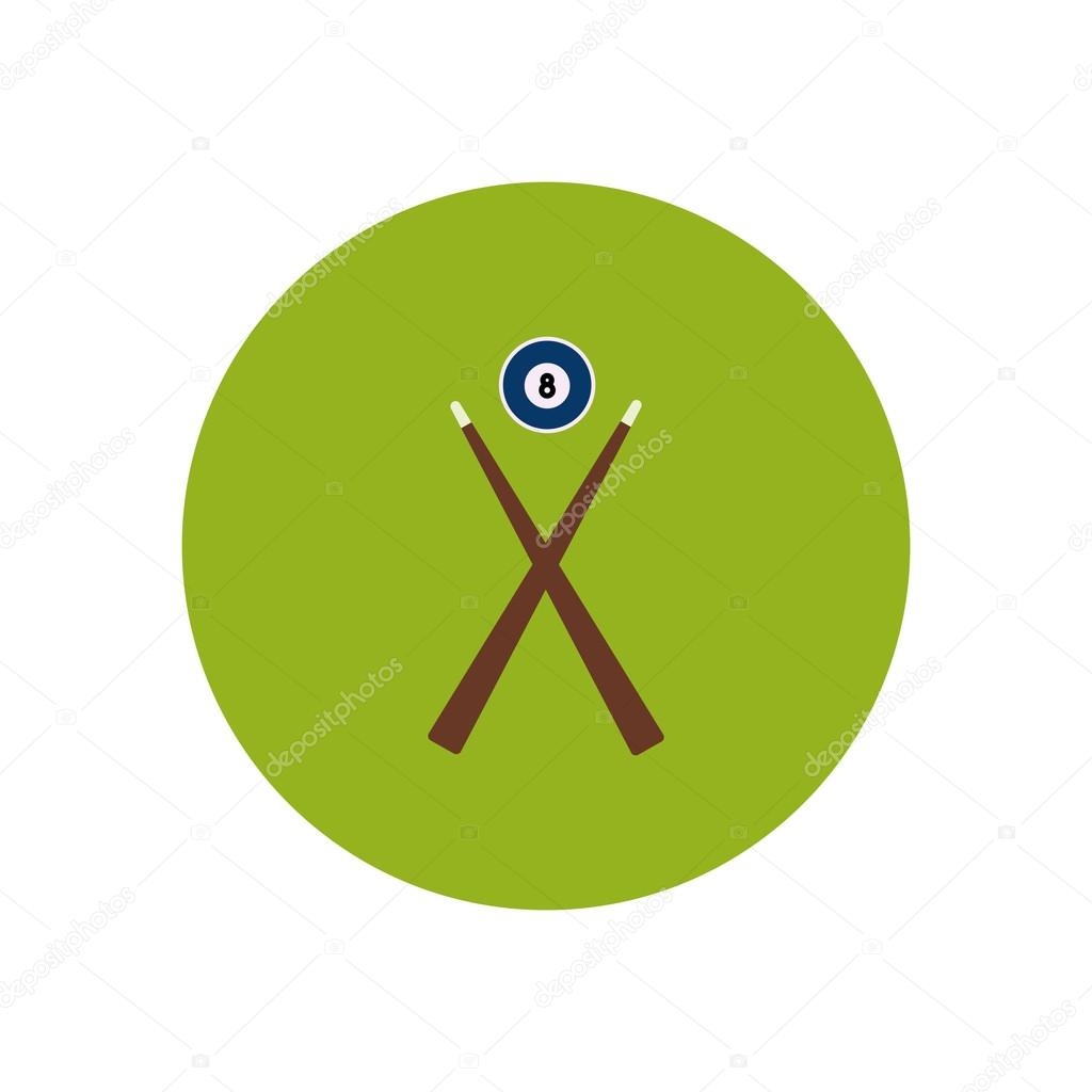 stylish icon in color circle Billiard ball cue