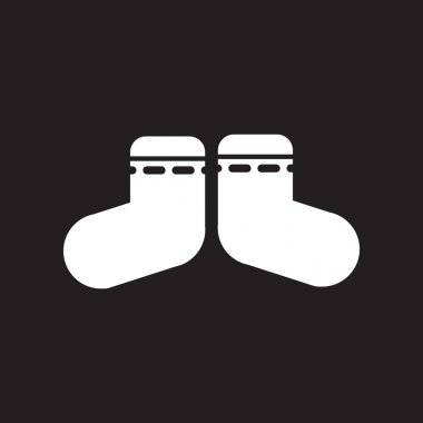 flat icon in black and white style children socks