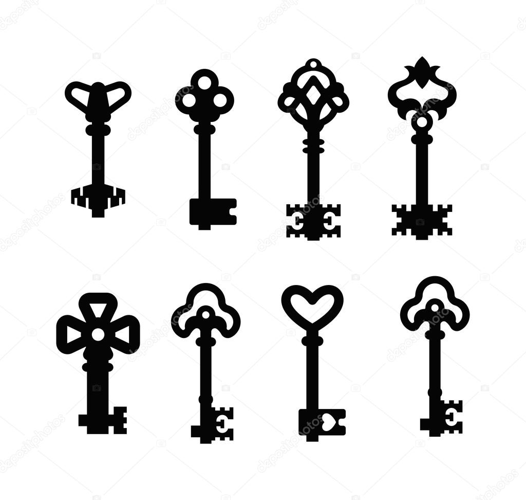Vector Key Illustration: Vintage Key Vector Isolated Icon