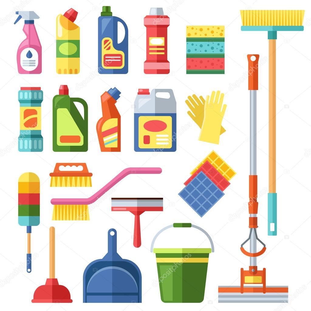Herramientas de limpieza de la casa vector vector de for Casa para herramientas