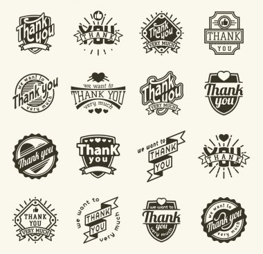 Vintage label Thank You text vector badge. Thank you text design label card lettering type banner symbol. Letter typography thank you badge logo decorative calligraphic message text clip art vector