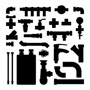 Water pipes vector icons isolated.