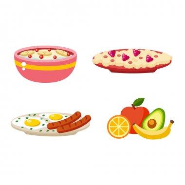 Healthy breakfast food vector.