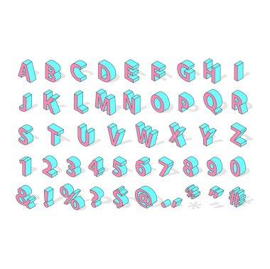 Isometric alphabet font isolated