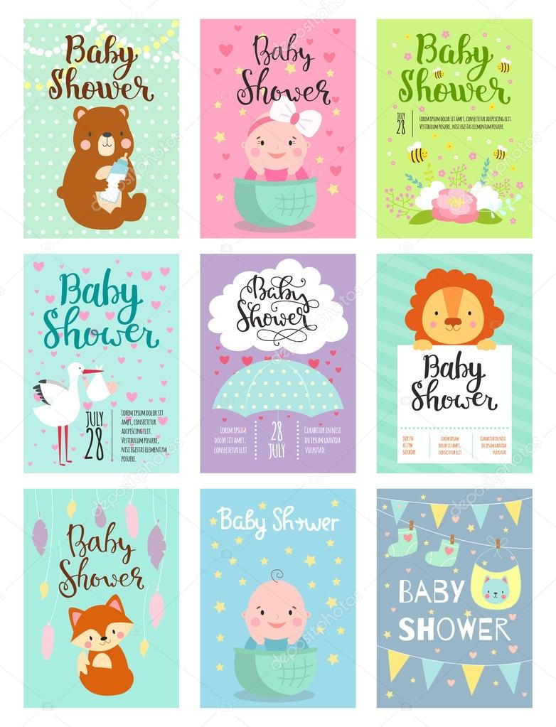 Baby shower invitation vector set vetor de stock vectorshow baby shower invitation vector set stopboris Image collections