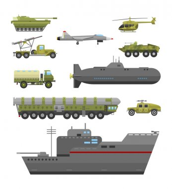 Military technic transport armor flat vector illustration.