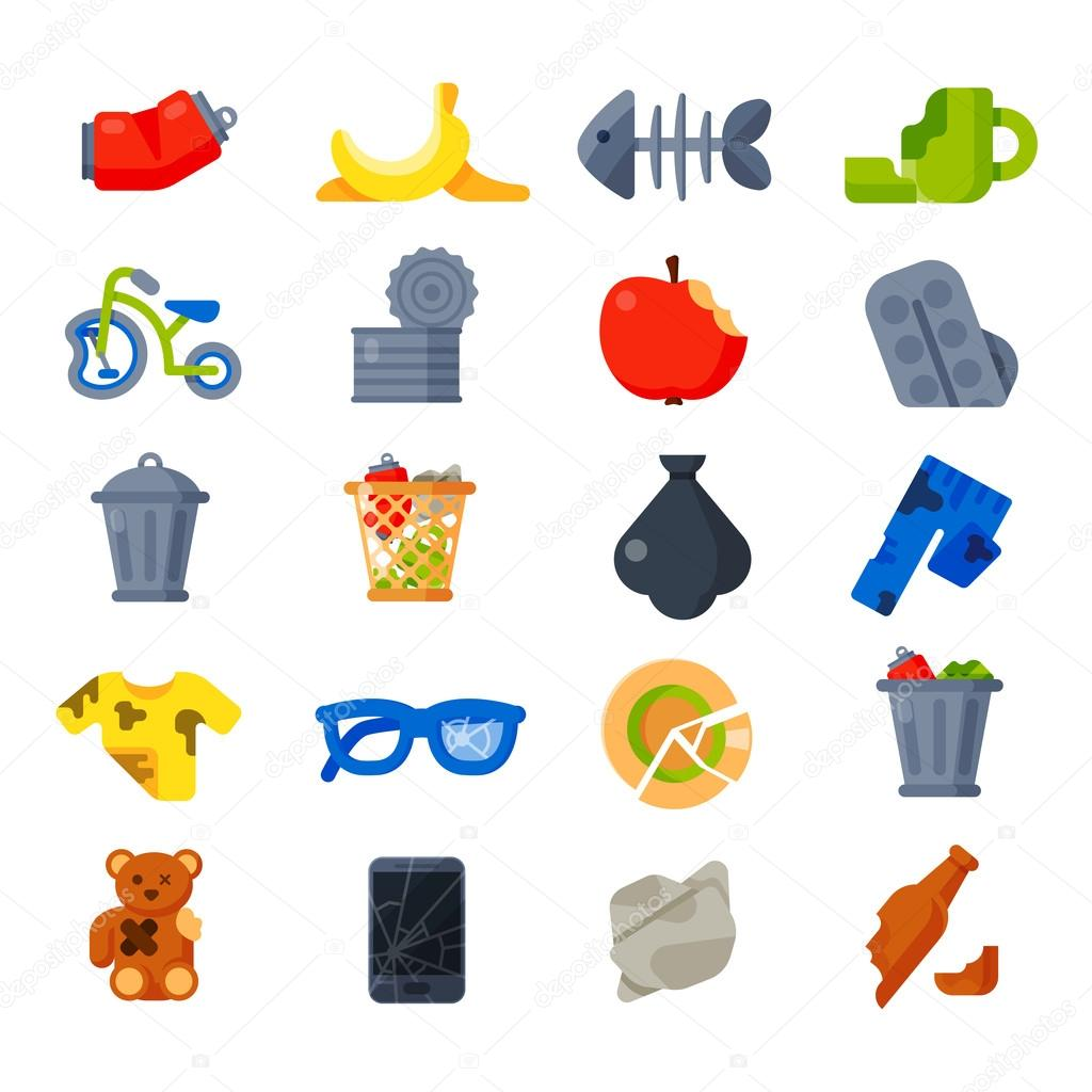 Household waste garbage icons vector.