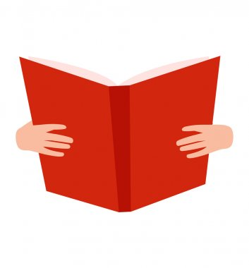 Open book with hands vector illustration.