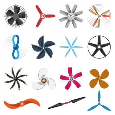 Propeller fan icons vector set.