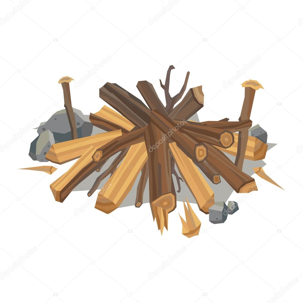 Firewood stack vector wooden material.