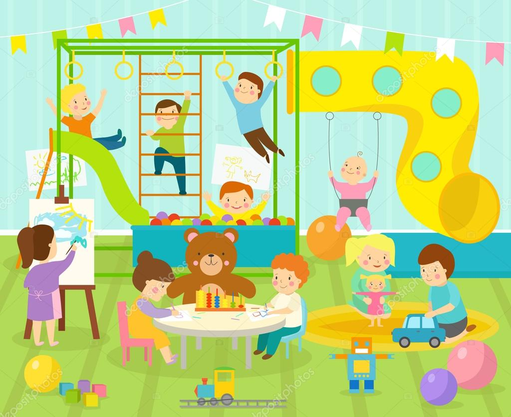 With Kids Playground And Toys On The Floor Carpet Playroom Apartment  Decorating. Flat Style Cartoon Comfortable Kids Room Vector Illustration.