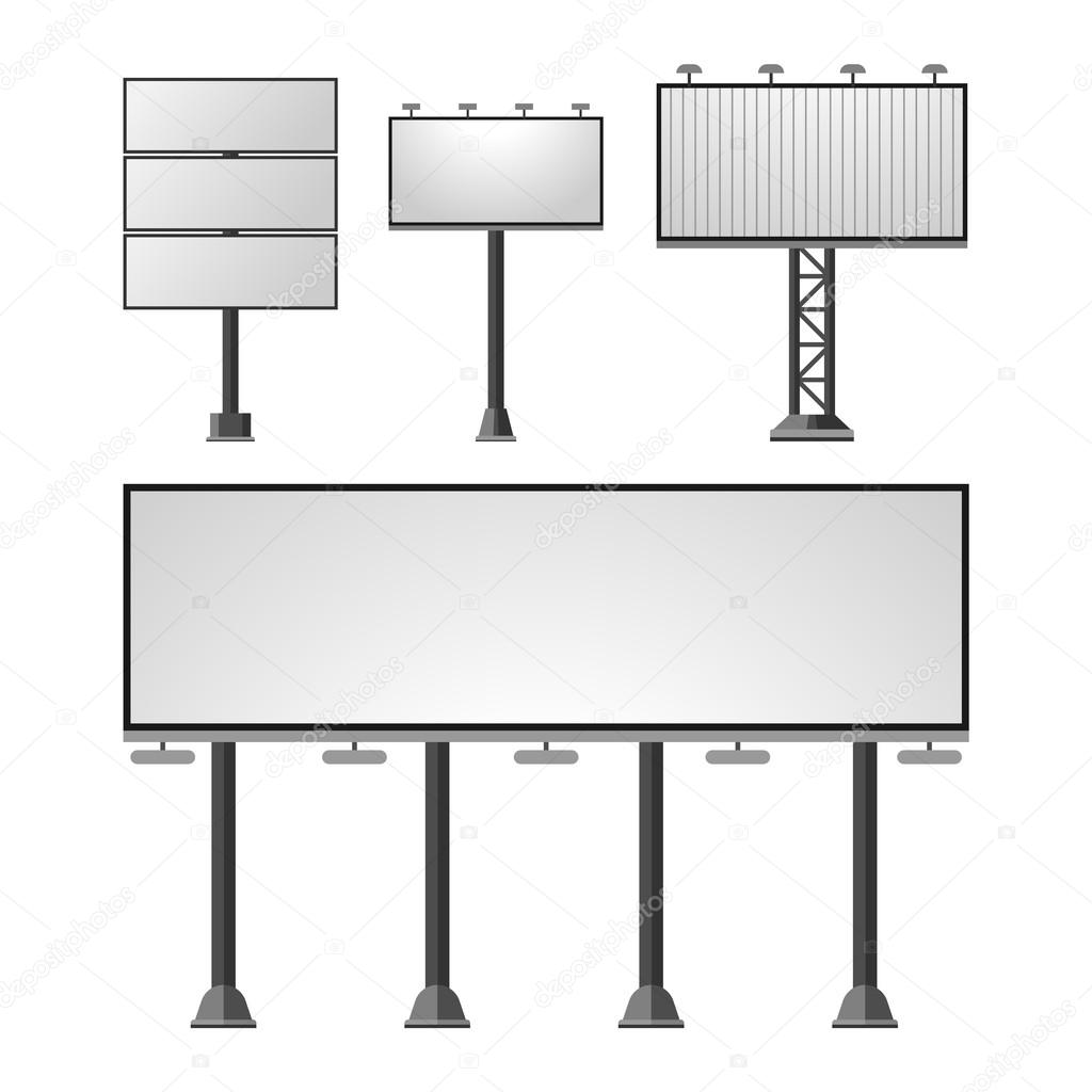 Advertisement billboards vector set.