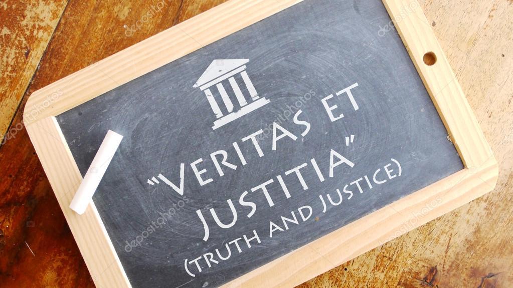 Veritas Et Justitia латинская фраза стоковое фото